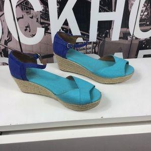 Toms blue platform wedge sandals